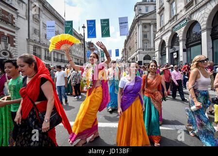 London, UK. 18 June 2017.  Devotees celebrate the annual Rathayatra festival ('cart festival'), in central London. - Stock Photo