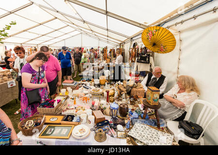 Tented area with arts and crafts market. Various stalls set up selling foods and arts and craft items during the - Stock Photo