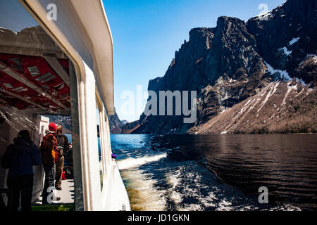 People on boat tour on Western Brook Pond, Gros Morne National Park, Newfoundland, Canada - Stock Photo