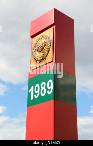 Border post with written on it the year withdrawal of Soviet troops from Afghanistan. 1989 - ending the Afghan war, - Stock Photo