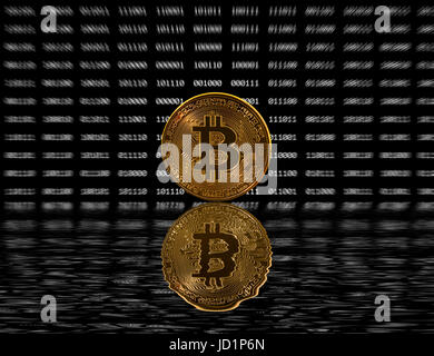 Single bitcoin coin on black digital background with reflection - Stock Photo