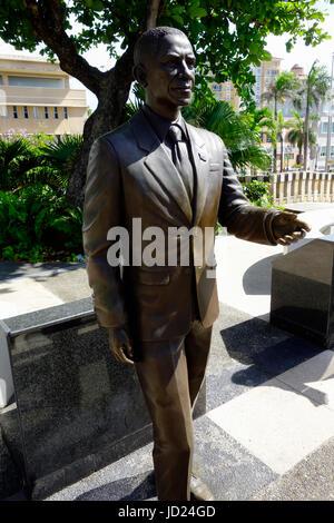 Bronze Statue of Barack Obama former US President in San Juan, Puerto Rico. - Stock Photo