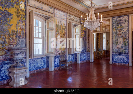 The National Palace of Queluz - Lisbon - Portugal. The Sala de Mangas decorated with tile panels illustrating the - Stock Photo