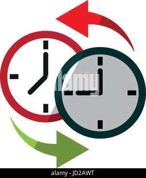 two clocks time zone change icon image  - Stock Photo