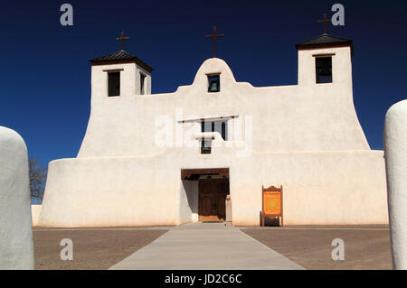 The historic Mission San Agustin de Isleta in Isleta Pueblo is one of the oldest Spanish colonial religious structures - Stock Photo