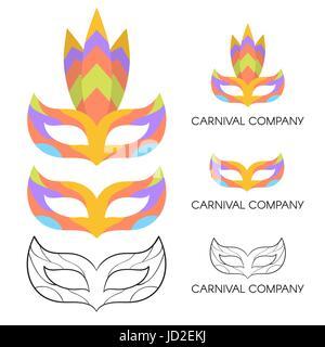 Vector illustration of carnival mask logo. Company branding. - Stock Photo
