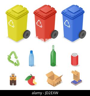 Vector isometric set of waste sorting cans. Icons for different kinds of waste: plastic, glass, batteries. Colorful - Stock Photo