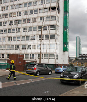 Aftermath of a 2012 tower block fire on 6th  floor of Eddystone Tower high-rise building in south east London. - Stock Photo