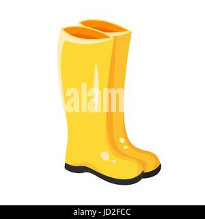 Vector cartoon style illustration of yellow rubber boots. Icon for web. Isolated on white background. - Stock Photo