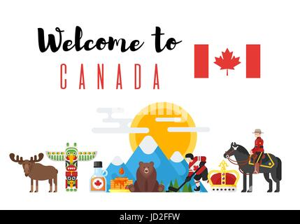 Canada Country Symbols Stock Vector Art Illustration Vector Image