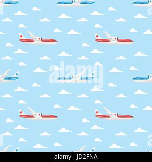 Vector flat style seamless pattern with plane flying in the sky. - Stock Photo