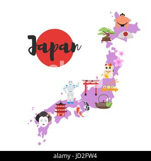 Vector flat style illustration of Japan map with Japanese national cultural symbols. Isolated on white background. - Stock Photo