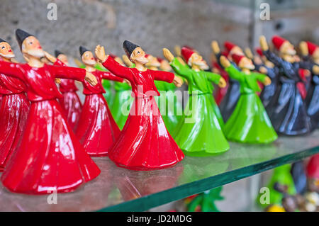 ANTALYA, TURKEY - MAY 6, 2017: The statuettes of the whirling Dervishes of Mevlevi Order during the Sema performance, - Stock Photo