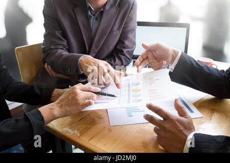 Close up business talking on desk with business presentation concept with vintage tone. - Stock Photo