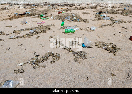 Garbage Pollutions on Dirty Beach - Stock Photo