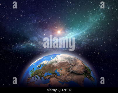 Planet Earth, star cluster and nebula in outer space, bright light shining far behind - Elements of this image furnished - Stock Photo
