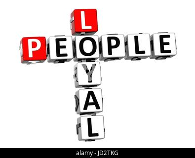 3D Crossword Loyal People on white background - Stock Photo