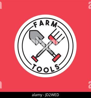 farm tools flat - Stock Photo