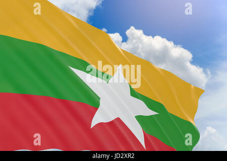 3D rendering of Myanmar flag waving on blue sky background, Myanmar officially the Republic of the Union of Myanmar - Stock Photo