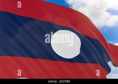 3D rendering of Laos flag waving on blue sky background, Laos officially the Lao People's Democratic Republic is - Stock Photo