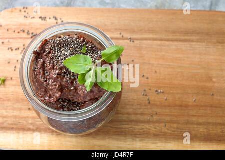 Chocolate chia seeds pudding - Stock Photo