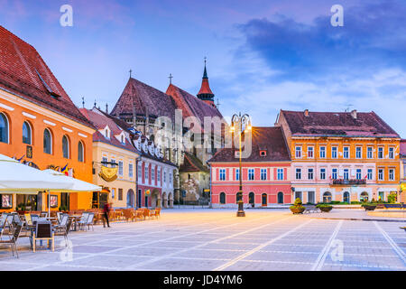 Brasov, Romania. Black Church in the Main Square of the Old Town. - Stock Photo