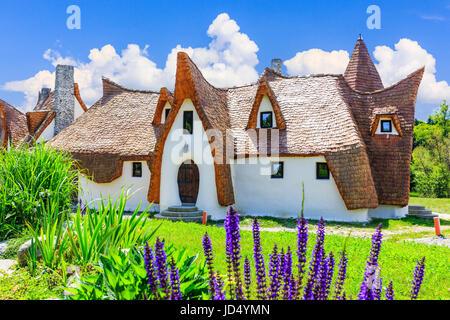 Sibiu, Romania  Fairytale castle of Porumbacu village. - Stock Photo