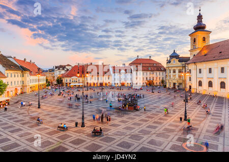 Sibiu, Romania. Large Square (Piata Mare) with the City Hall and Brukenthal palace in Transylvania. - Stock Photo