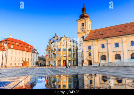 Sibiu, Romania. City Hall and Brukenthal palace in Transylvania. - Stock Photo