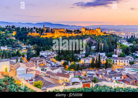 Alhambra of Granada, Spain. Alhambra fortress at twilight. - Stock Photo