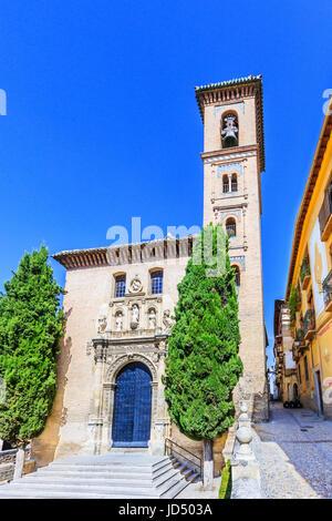 Granada, Spain. Church of San Gil and Santa Ana. - Stock Photo
