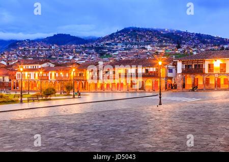 Cusco, Peru. Plaza de Armas the main square in Cusco. - Stock Photo
