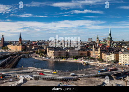 STOCKHOLM, SWEDEN - SEPTEMBER, 16, 2016: Cityscape image during daytime with sun light. Old town panoramic view. - Stock Photo