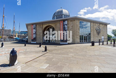 Royal Research ship Discovery Point building at the waterfront by the Firth of Forth in Dundee Tayside Scotland - Stock Photo