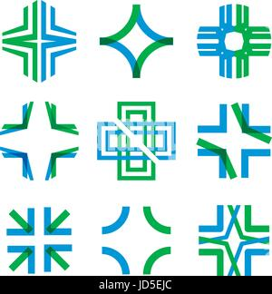 Medical abstract symbol from transparent intersecting lines in the form of a cross. Magnificent sign and logo for - Stock Photo
