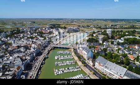Aerial photography of Le Pouliguen village center and port in Loire Atlantique, France - Stock Photo