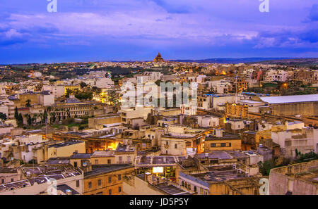 Over view of Victoria city, Gozo, Malta landmark, at sunset - Stock Photo