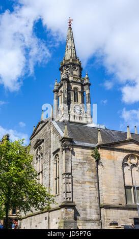 Landmark of Edinburgh, The Tron Kirk, a former principal parish church, Scotland. It was built in the 17th century - Stock Photo