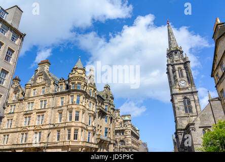 Street view of The Tron Kirk, a former principal parish church in Edinburgh, Scotland and ather old buildings in - Stock Photo
