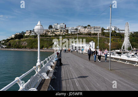 The pier at Torquay on the English Riviera a popular holiday resort in South Devon England UK. May 2017 - Stock Photo
