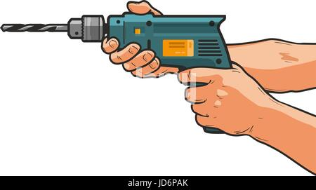 Drill in hand. Building, repair, housework, construction tool concept. Cartoon vector illustration - Stock Photo