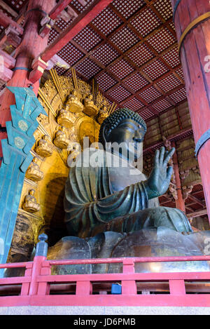 Tōdai-ji Eastern Great Temple Great Buddha, bronze scuplture. - Stock Photo