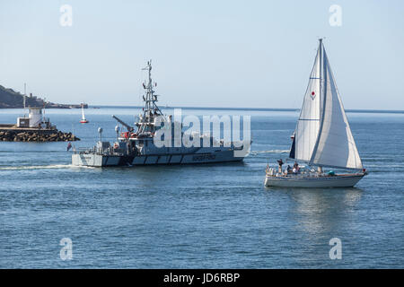 HMC Seeker, a Border Force UK Customs cutter departing from Plymouth Sound. - Stock Photo