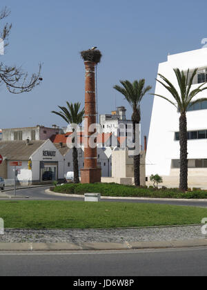 Stork nests, town centre, Lagos, Portugal - Stock Photo