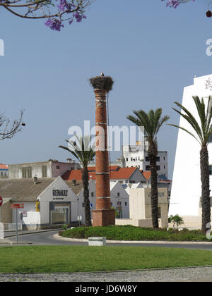 Stork nests, Lagos, Portugal - Stock Photo