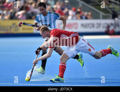 London, UK. 18th June, 2017. AMES David in action during Hero Hockey World League Semi-Final (Men) England v Argentine - Stock Photo