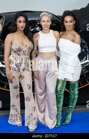 London, UK. 18 June 2017. Stooshe arrive for the global premiere of Transformers: The Last Knight at Leicester Square - Stock Photo