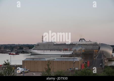 Thames Barrier , River thames, London, UK. 18th June 2017. The Viking star cruise ships passing through the Thames - Stock Photo