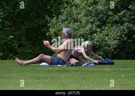 Leeds, UK. 19th June, 2017. With Monday being predicted as the hottest June day since 1976, sunseekers were making - Stock Photo