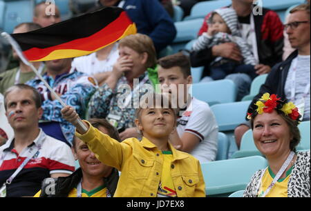 Sochi, Russia. 19th June, 2017. Germany's fans seen ahead of the 2017 FIFA Confederations Cup Group B football match - Stock Photo
